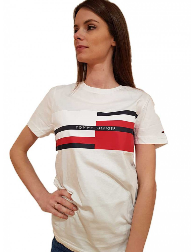 T shirt bianca Tommy Hilfiger con logo a righe colorate mw0mw13332ybrd TOMMY HILFIGER T SHIRT DONNA product_reduction_percent