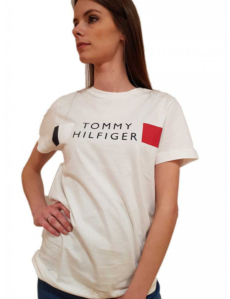 Maglietta Tommy Hilfiger donna bianca regular fit con logo mw0mw13330ybrd TOMMY HILFIGER T SHIRT DONNA product_reduction_percent