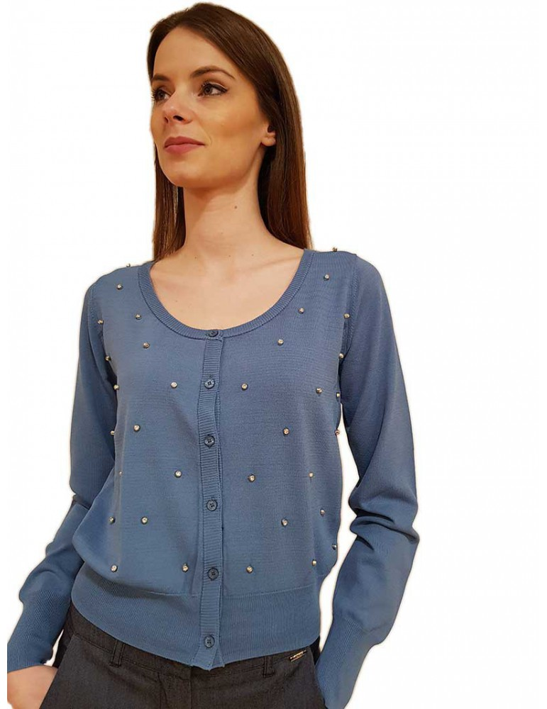 Fracomina cardigan celeste con strass fr20sp8035422 FRACOMINA MAGLIE DONNA product_reduction_percent