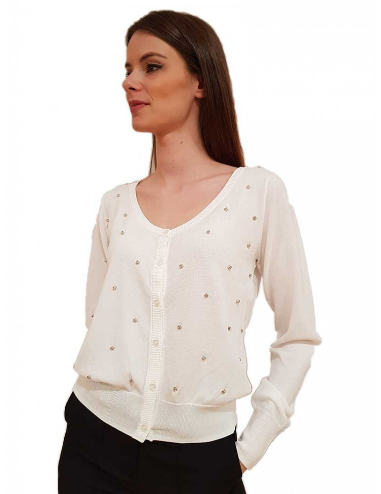 Cardigan bianco Fracomina con strass fr20sp8035108 FRACOMINA MAGLIE DONNA product_reduction_percent