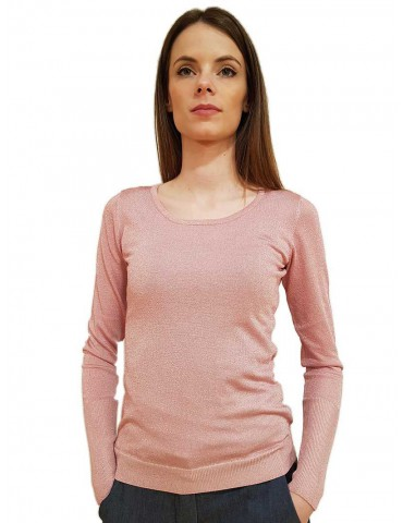 Fracomina maglia rosa tinta unita girocollo laminata