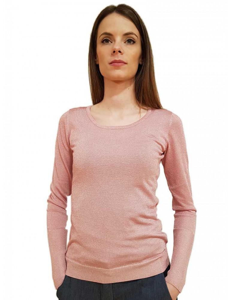 Fracomina maglia rosa tinta unita girocollo laminata fr20sp8024310 FRACOMINA MAGLIE DONNA product_reduction_percent