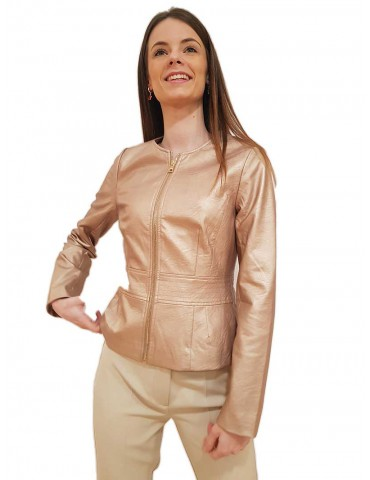 Fracomina faux pink leather jacket