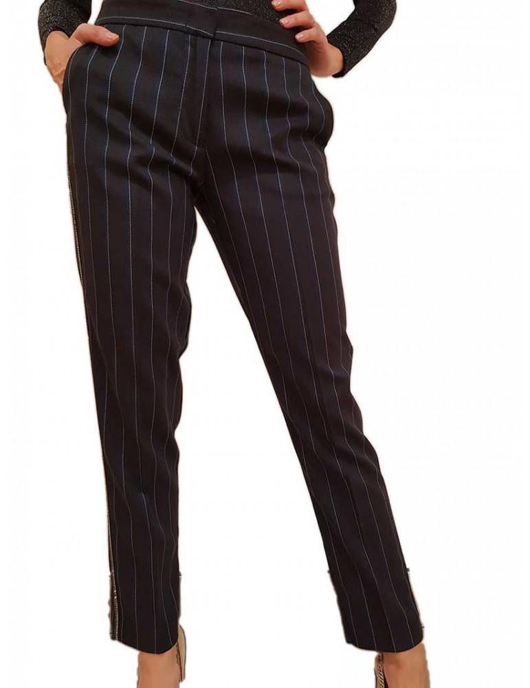 Gaudi pantalone a righe nero con profilo 921fd25009921006-01 GAUDI PANTALONI DONNA product_reduction_percent