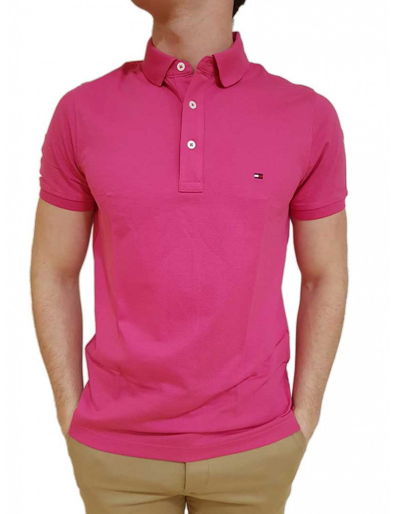 Polo slim Tommy Hilfiger fuxia mw0mw09732666 TOMMY HILFIGER T SHIRT UOMO product_reduction_percent