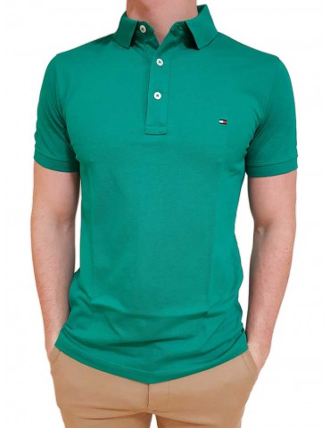 Polo Tommy Hilfiger verde in cotone piquet