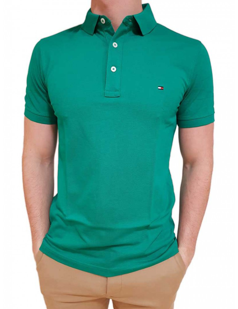 Polo Tommy Hilfiger verde in cotone piquet mw0mw09732301 TOMMY HILFIGER T SHIRT UOMO product_reduction_percent