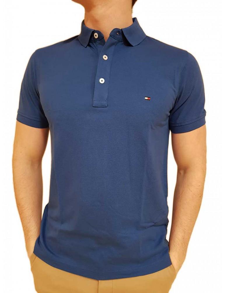 Polo Tommy Hilfiger bluette slim tinta unita piquet mw0mw09732431 TOMMY HILFIGER T SHIRT UOMO product_reduction_percent