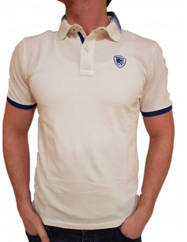 White Blauer polo with gradient collar