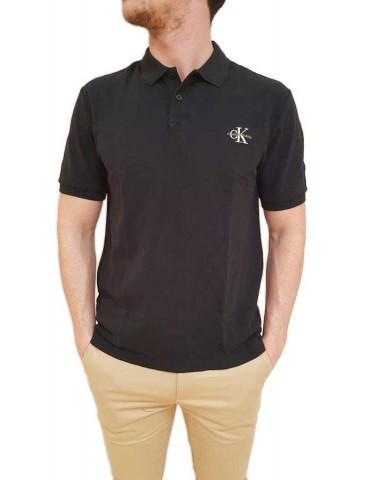Calvin Klein short-sleeved black polo new monogram logo