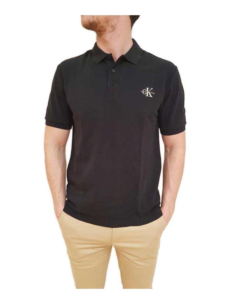 Calvin Klein polo nera manica corta new monogram logo j30j312323099 CALVIN KLEIN JEANS T SHIRT UOMO product_reduction_percent