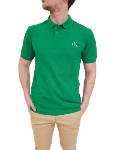Calvin Klein polo uomo verde tinta unita new monogram logo