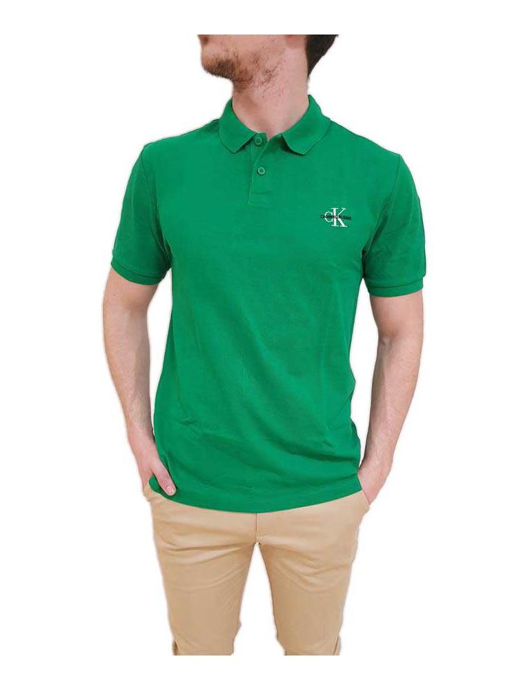 Calvin Klein polo uomo verde tinta unita new monogram logo j30j312323377 CALVIN KLEIN JEANS T SHIRT UOMO product_reduction_pe...