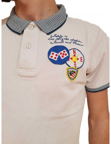 Polo Blauer beige safety co Los Angeles