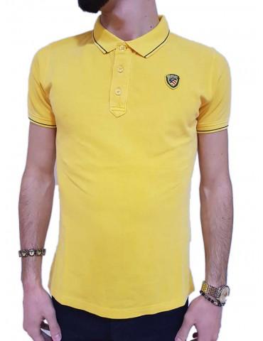 Blauer polo uomo gialla piquet con costina rigata