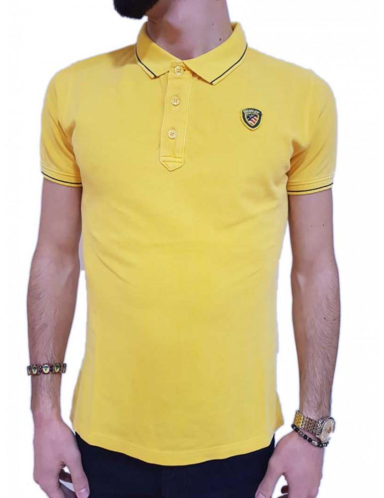 Blauer polo uomo gialla piquet con costina rigata 18sblut02036004865214 BLAUER USA T SHIRT UOMO product_reduction_percent