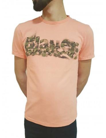 Blauer t shirt uomo manica corta camouflage rosa