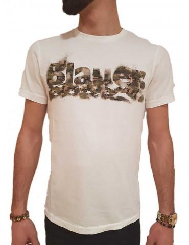 Blauer t shirt uomo manica corta camouflage bianca