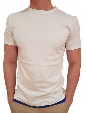 Roberto P t shirt bianca spg-1 doppiata blue royal