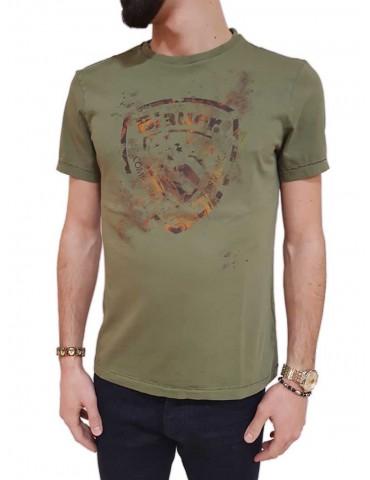 T shirt Blauer manica corta verde