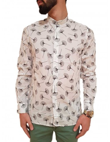 Antony Morato white Korean-neck patterned shirt