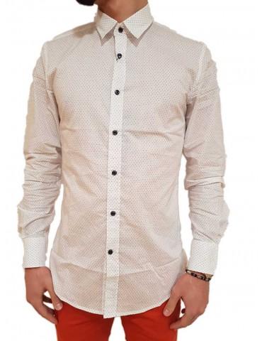 Antony Morato camicia slim bianca micro pois