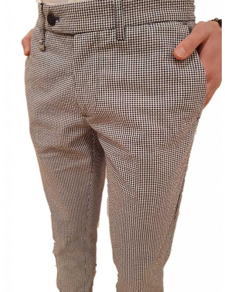 Antony Morato pantalone blu skinny fantasia microquadri mmtr00412fa8501457051 ANTONY MORATO PANTALONI UOMO product_reduction_...