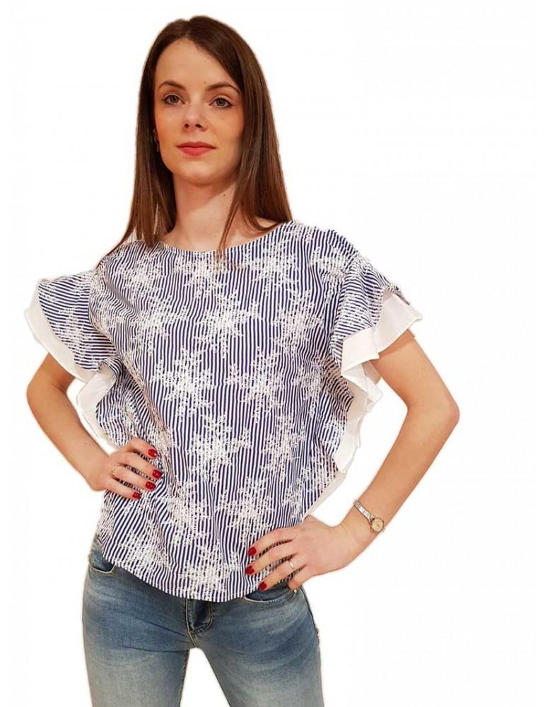 Blusa a righe con ricami fracomina blu e bianca fr19sp542070 FRACOMINA CAMICIE DONNA product_reduction_percent