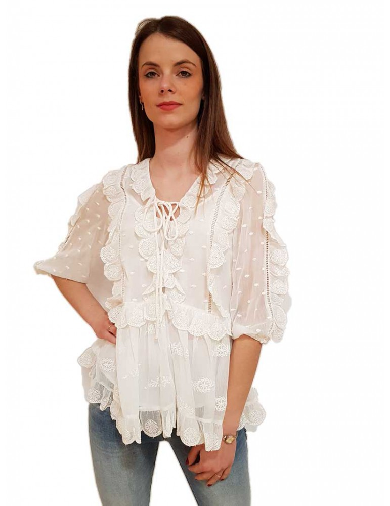 Blusa bianca con pizzo Fracomina fr19sp365108 FRACOMINA CAMICIE DONNA product_reduction_percent