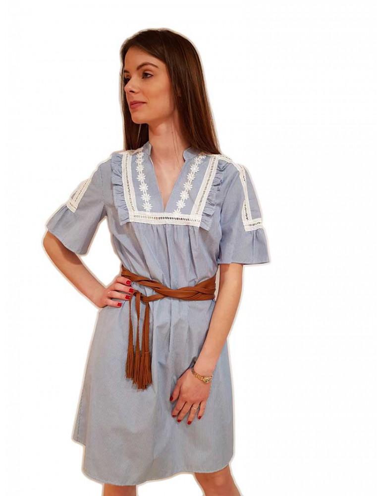 Fracomina abito corto a righe bianco blu cotone fr19sm504175 FRACOMINA ABITI DONNA product_reduction_percent