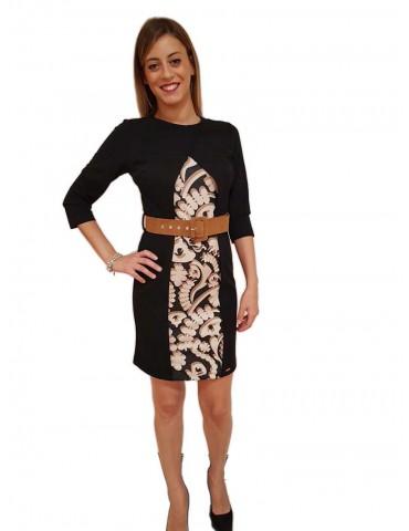 Fracomina three-quarters black beige women's dress
