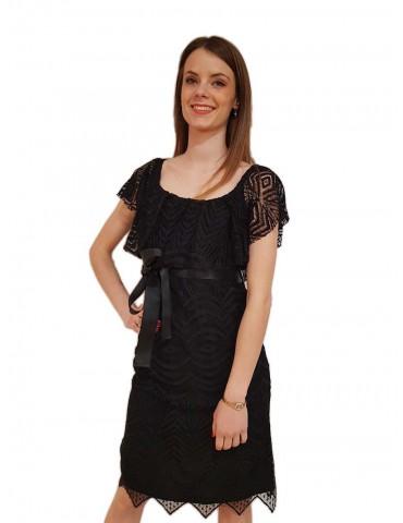 Fracomina abito in pizzo nero con cintura
