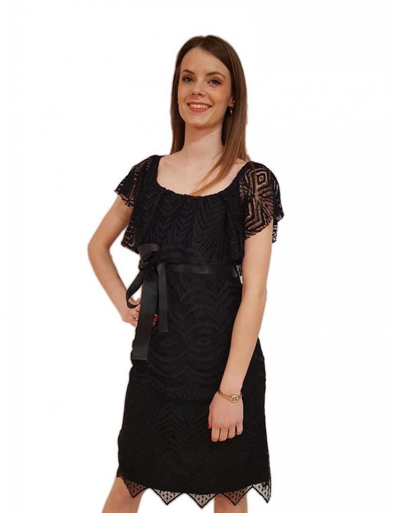 Fracomina abito in pizzo nero con cintura fr19sp097053 FRACOMINA ABITI DONNA product_reduction_percent