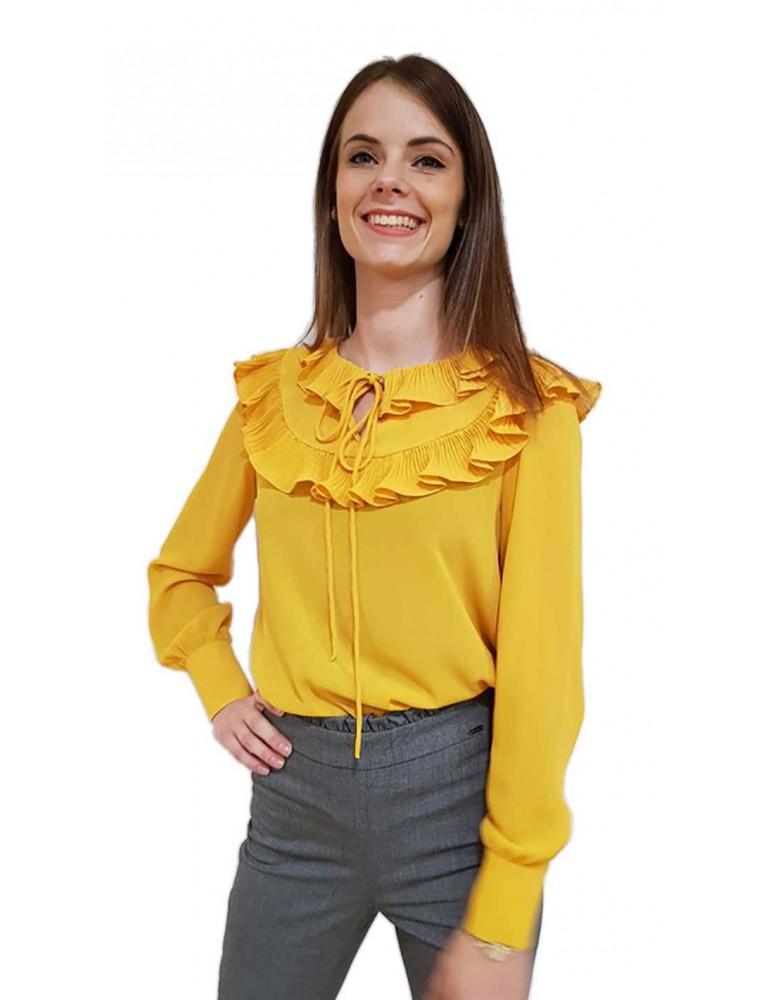 Fracomina blouse giallo ocra con volant fr18fm521e15 FRACOMINA CAMICIE DONNA product_reduction_percent