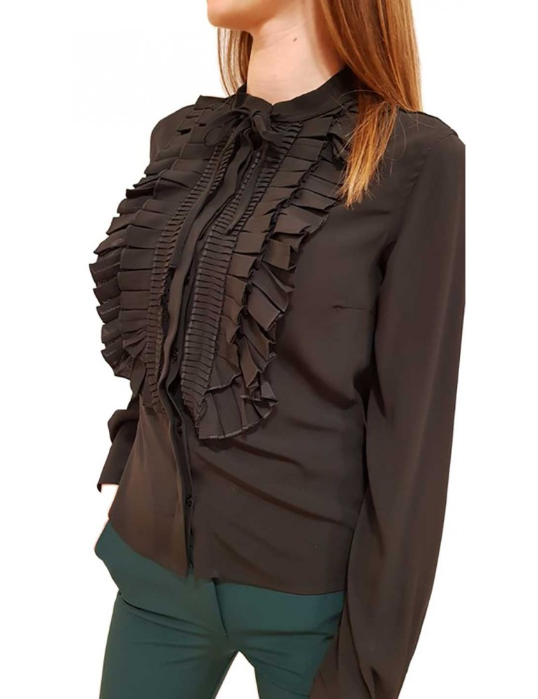 Fracomina blouse nera con ruches fr18fp413053 FRACOMINA CAMICIE DONNA product_reduction_percent