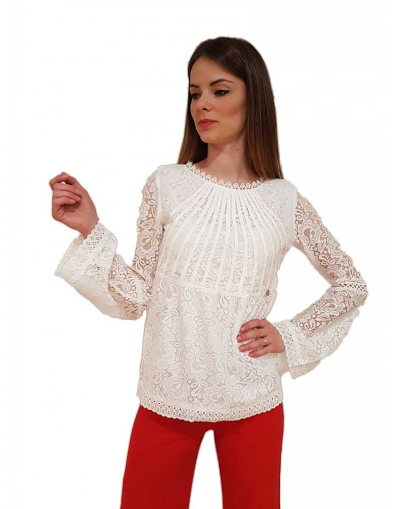 Fracomina blouse pizzo cream fr18sp444108 FRACOMINA CAMICIE DONNA product_reduction_percent