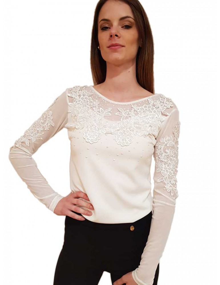 Fracomina blouse pizzo e tulle crema fr18sp532108 FRACOMINA CAMICIE DONNA product_reduction_percent