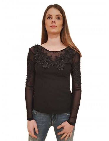 Fracomina blouse lace and black tulle
