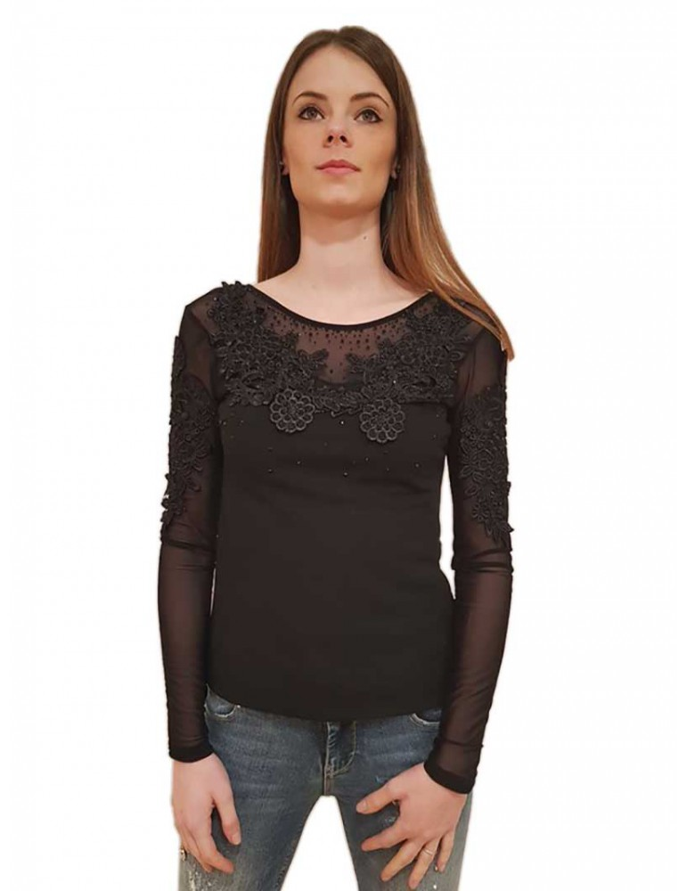 Fracomina blouse pizzo e tulle nera fr18sp532053 FRACOMINA CAMICIE DONNA product_reduction_percent