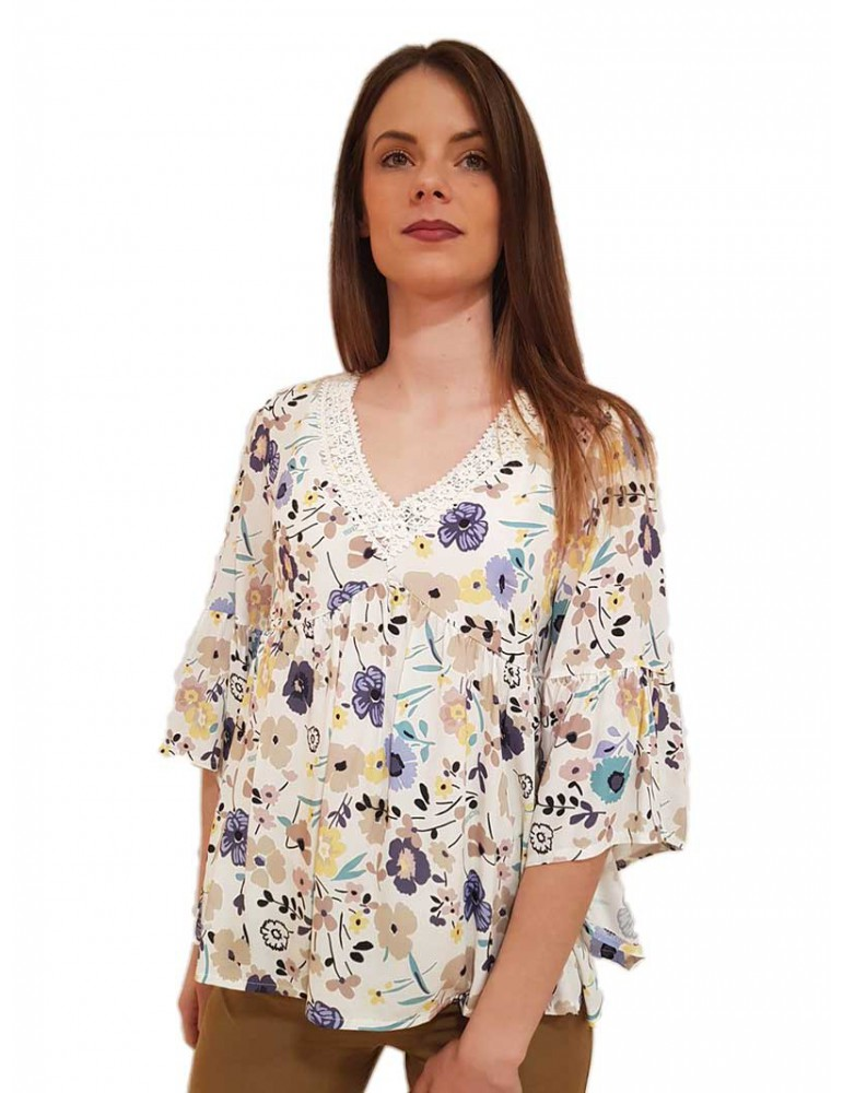 Fracomina blusa a fiori scollo a v multicolor fr19sm545210 FRACOMINA CAMICIE DONNA product_reduction_percent