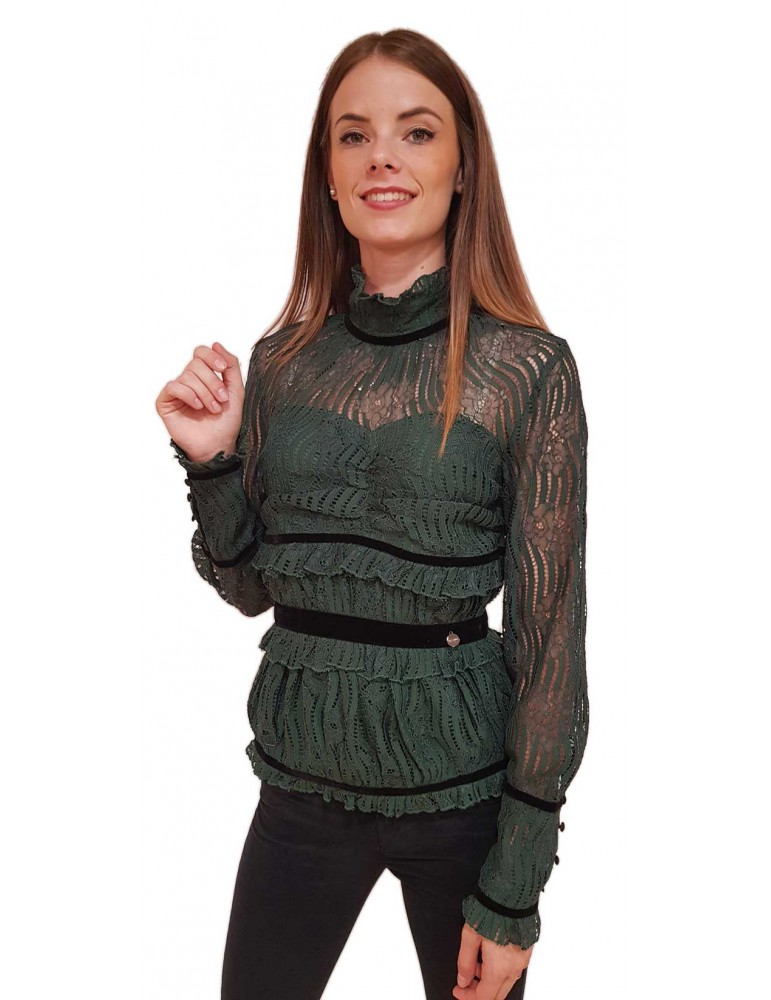 Fracomina blusa verde fr18fm564119 FRACOMINA CAMICIE DONNA product_reduction_percent