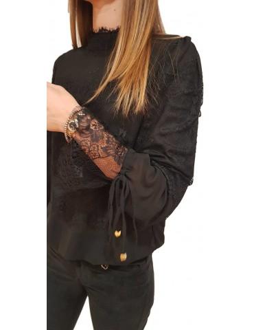 Fracomina camicia donna a body nera Alix