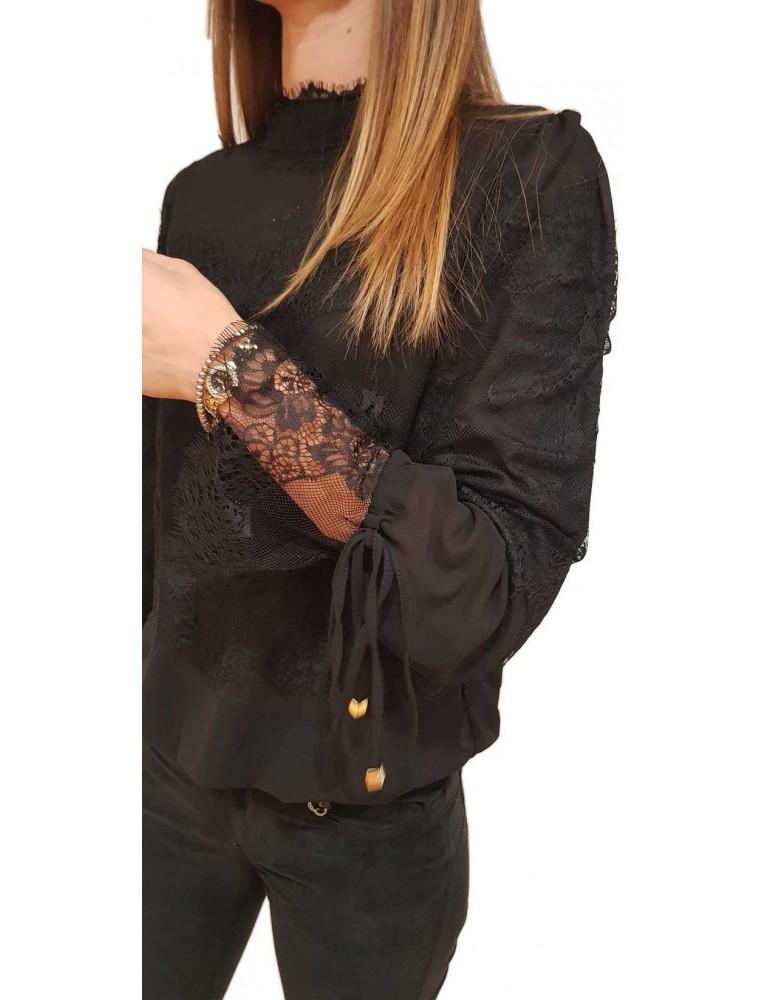 Fracomina camicia donna a body nera Alix fr18fmalix053 FRACOMINA CAMICIE DONNA product_reduction_percent