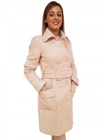 Fracomina cappotto donna lungo rosa
