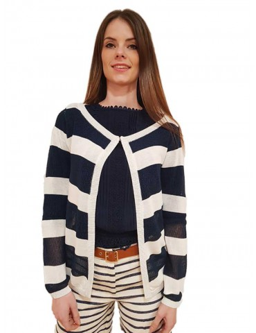 Fracomina blue and white striped cardigan