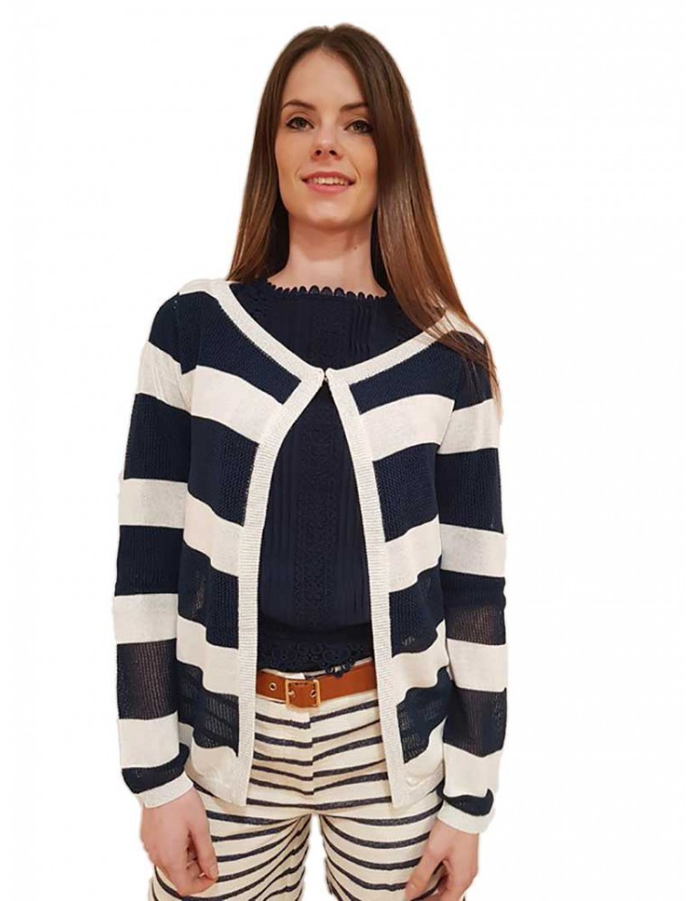 Fracomina cardigan a righe bianche e blu fr18sp831730 FRACOMINA MAGLIE DONNA product_reduction_percent