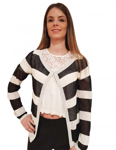 Fracomina black and white striped cardigan