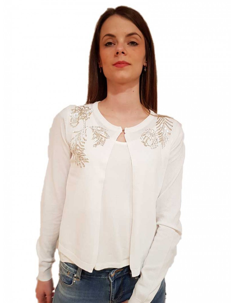 Fracomina cardigan bianco con applicazioni e pizzo fr19sp8007108 FRACOMINA MAGLIE DONNA product_reduction_percent