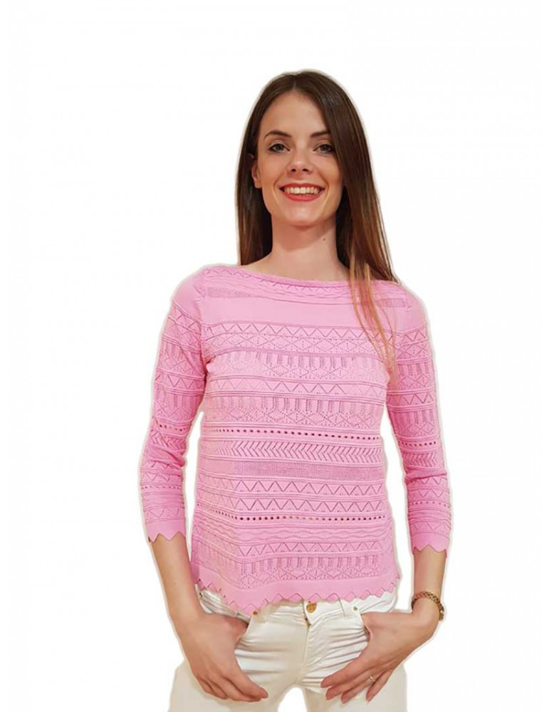 Fracomina cropped pull rosa fr18sp861238 FRACOMINA MAGLIE DONNA product_reduction_percent