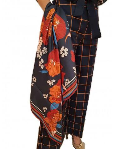 Fracomina blue floral scarf